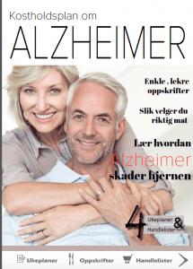 Voksent par, kvinne holder rundt mann. Skrift om kosholdsplan ved demens og Alzheimers sykdom.