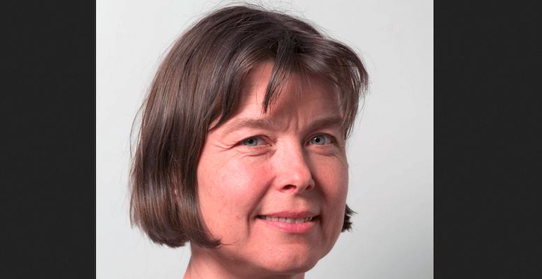 Nærbilde av kvinne som ser i kamera, smiler litt, mørkt, halvlangt hår. Med hvit, nøytral bakgrunn. Avbildet er Anne Spurkland.