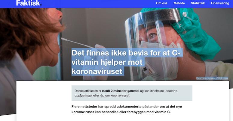 """Skjermdump av nettstedet faktisk.no fra en artikkel med overskriften """"Det f innes ikke bevis for at C-vitamin hjelper mot koronaviruset""""."""